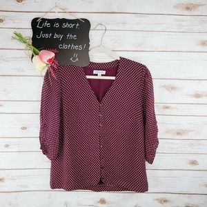 Modcloth Emily And Fin Top Size M Polka Dot